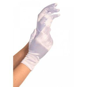 NWT Leg Avenue Satin Wrist Length Gloves White